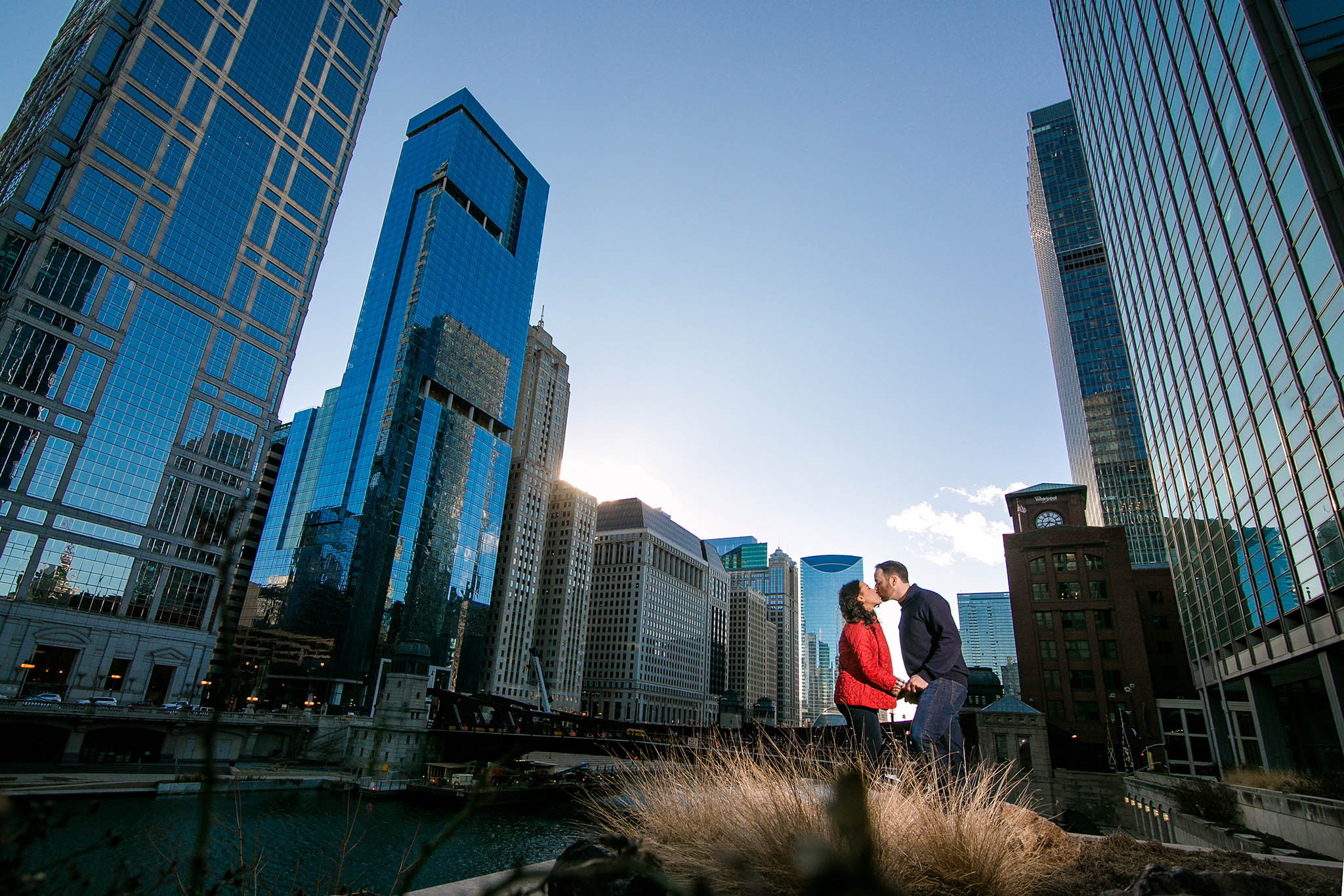 winter chicago engagement