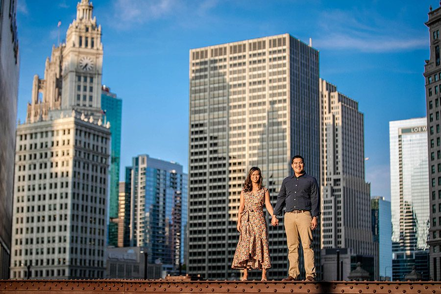 Downtown Chicago engagement / Bao & Sam