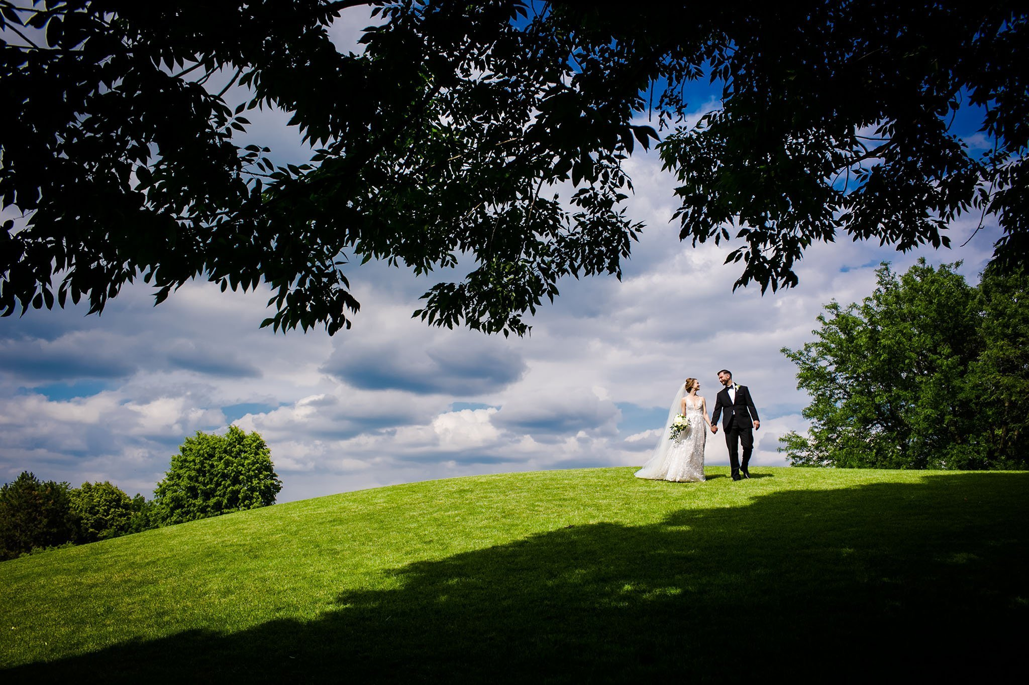 bride and groom at cantigny park