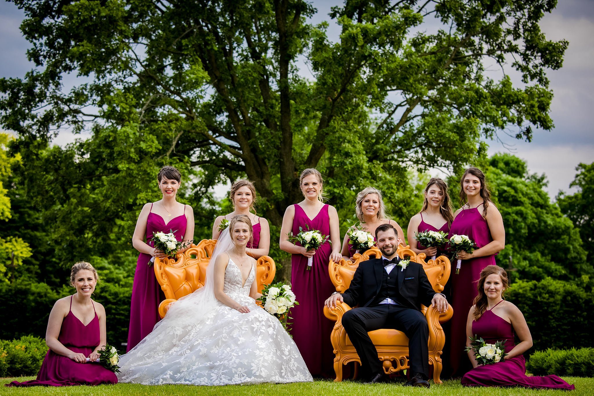 bridal party at cantigny park