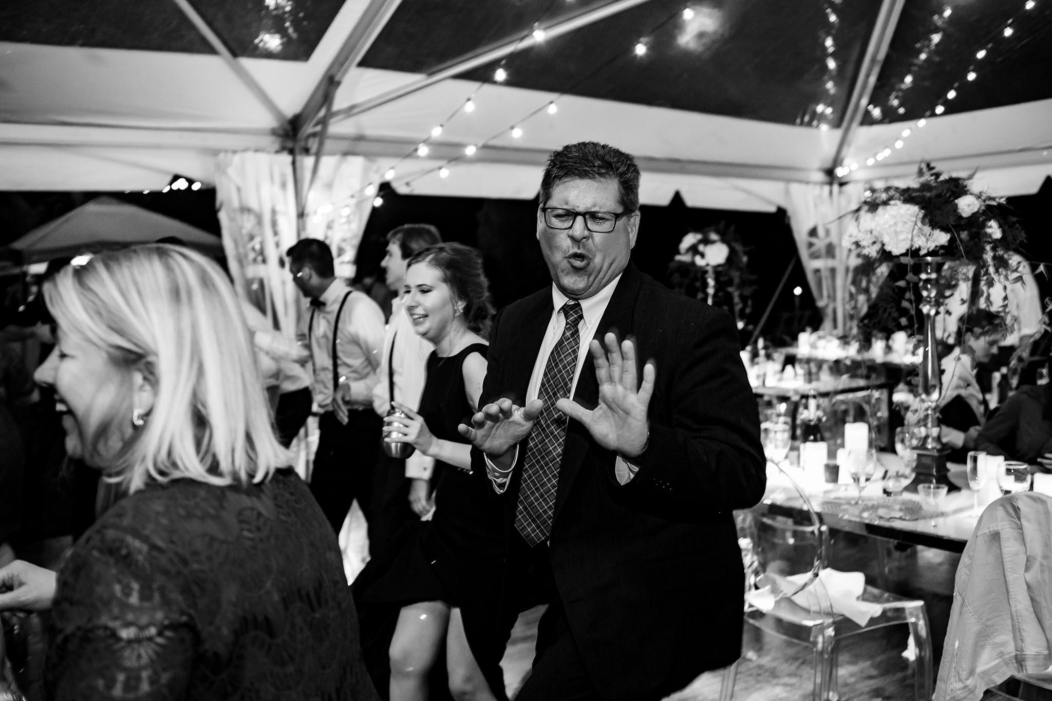 dancing on dance flor at wedding